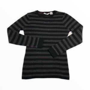 Autumn Cashmere Gray Black Striped Sweater Sz S